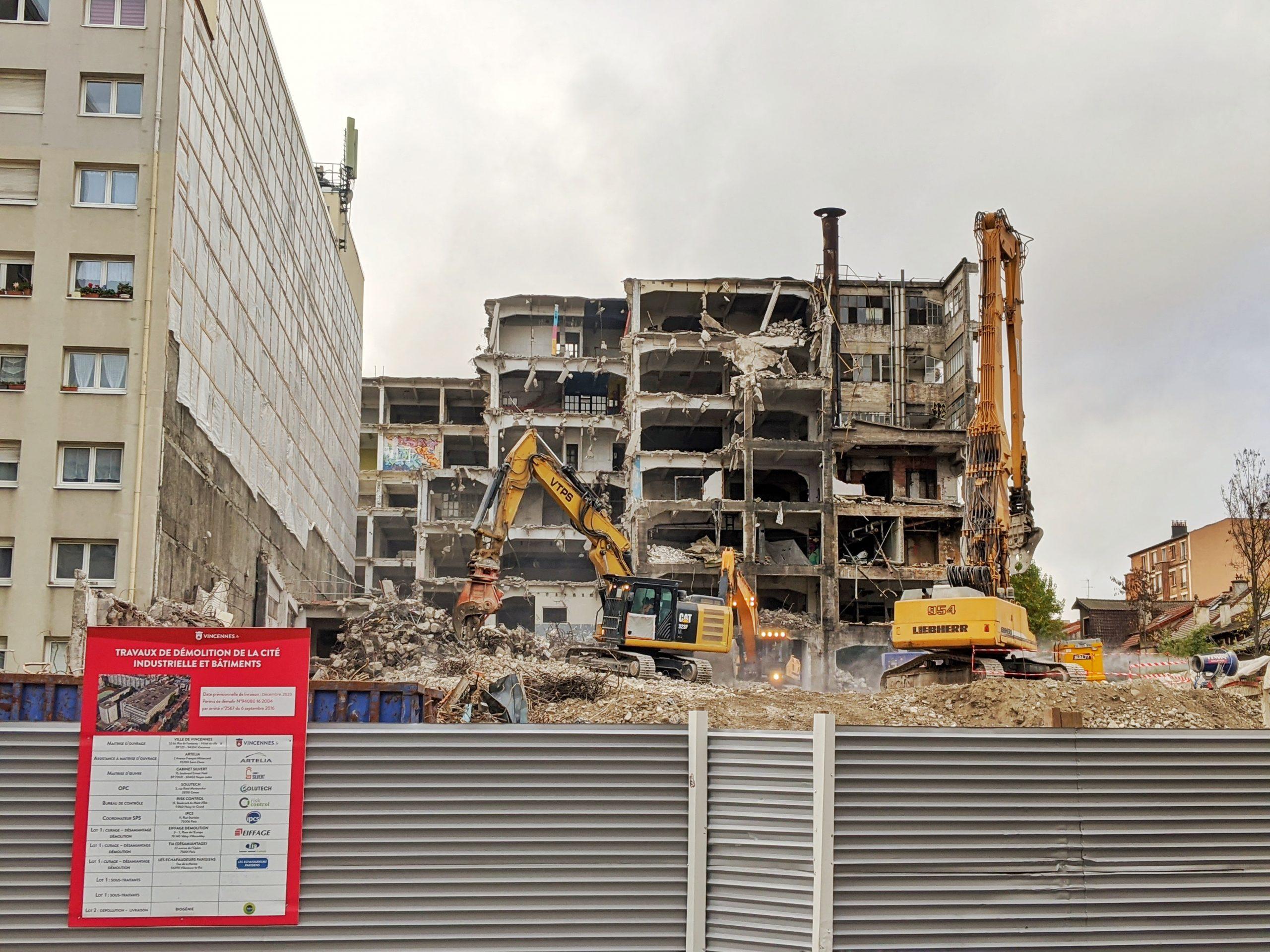 démolition cité industrielle de la Jarry travaux construction lycée international vincennes
